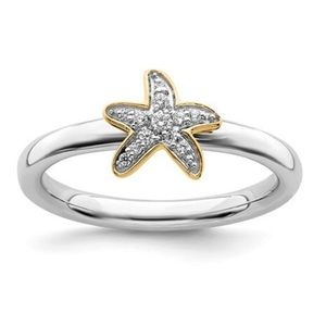 Jewelry - 925 Sterling Silver Gold Starfish 💎 Ring